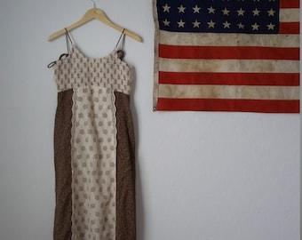 Vintage bohemian maxi peasant dress / 1970s Jody T Brown Prairie Sun Dress