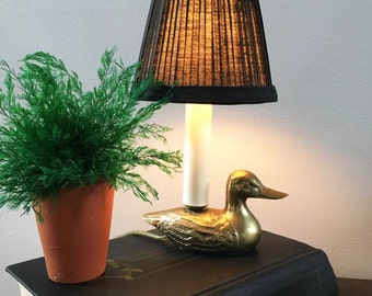 Mini Duck Lamp / Mini Brass Lamp with Changeable Black and White Shades  / Accent Lamp