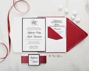 Red and White Wedding Invitations, Valentines Day Wedding Invitations with Glitter, Heart Wedding Invitation with Glitter, Stephanie