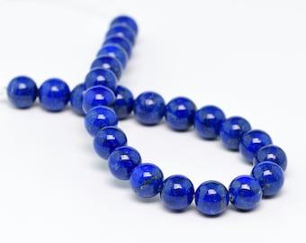 "8MM Lapis Lazuli Beads Afghanistan AAA Genuine Natural Gemstone Half Strand Round Loose Beads 7.5"" BULK LOT 1,3,5,10 and 50 (100188h-894)"