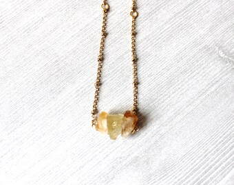 Rough Citrine Necklace // Raw Citrine Necklace // Yellow Crystal Necklace // Citrine Jewelry // Yellow Crystal Necklace // Gold Plated