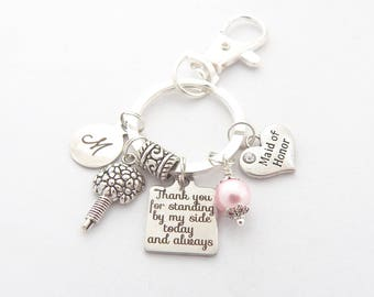 Bridesmaid Keychain Purse Clip Maid of Honor Keychain, Sister, Bouquet Charm, Gift from Bride,  Gifts for Bridesmaids, Bridal Party Gift