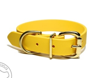 "Biothane Dog Collar - Sunflower Yellow 1"" (25mm) wide - Leather Look and Feel - Custom Dog Collars - Stainless Steel or Brass Hardware"