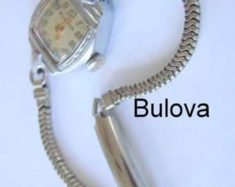 1950s Antique Bulova 14K Rolled Gold Plate Wrist Watch Forstner Gold Filled Band Vintage Jewelry Jewellery