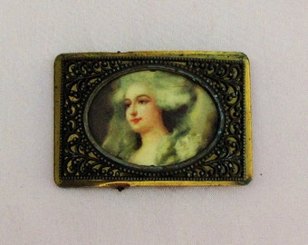Antique buckle with woman's picture, brass filigree buckle with picture of 18th century lady under celluloid, woman's decorative belt buckle