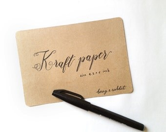 100 Kraft Paper Blank Postcards / Card stock, Size 4.2x6 inch w/ rounded corners - for greeting card, invitation, note cards or letterpress
