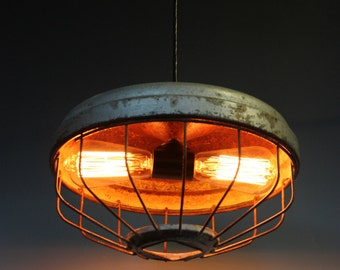 FREE SHIP-Chicken Feeder Pendant Light w/Double Socket, Pendant Lighting, Vintage Pendant, Industrial Lighting, Barn Lights, Antique Lights