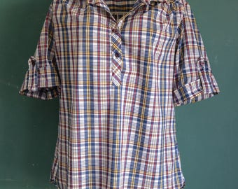 1970s plaid check thin shirt Miss Fashionality / Western Pinup Rockabilly Boxy Flowy True Vintage