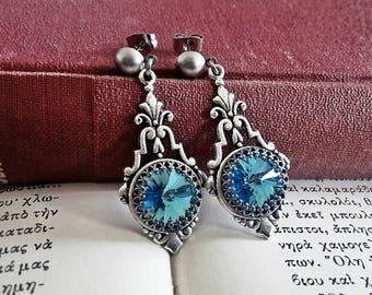 Aquamarine Birthstone Earrings, SWAROVSKI, Art Deco Earrings, Blue Dangle Earrings, Swarovski Jewelry, March Birthstone, Victorian Earrings