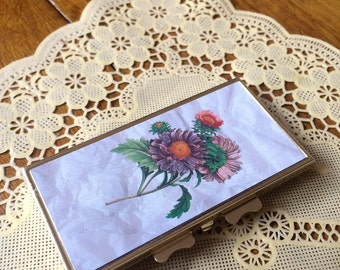 80's Floral Trinket / Pill Box