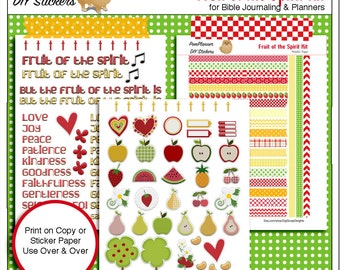 Printable Fruit of the Spirit Bible Journaling Page Kit  (Print on Sticker or Copy Paper) adhere into Bible margins or Planners