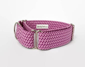 "Pink Tones Tiny "" Greyhoundstooth""  Dog Collar - Martingale Collar or Buckle - Greyhounds / Whippets / Sighthounds EXCLUSIVE DESIGN"
