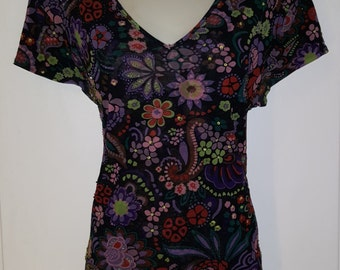 90's MESH SEQUIN SHIRT // Vintage Floral Print Beaded Top See Through Size m/l  V Neck Preppy Short Sleeve Heart Stretch