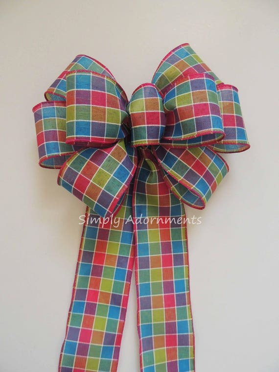 Multi-Colored Spring Tartan Wreath bow Spring Swag Door hanger Bow Pink Green blue Plaid Wired ribbon Bow Spring Plaid Birthday Party decor