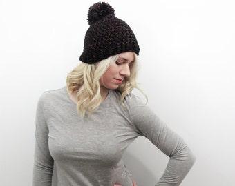 Deep Jewels Hat. Black and Pink Pom Pom Hat. Chunky Pom Pom Beanie. Glitter Pom Pom. Sparkle Hat. Womens Pom Pom Hat. Womens Winter Hat.
