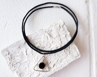 Black Leather Wrap Choker/Geometric Black Circle Necklace/Triangle Pendant Choker Necklace/Reversible Abstract Necklace/Boho Modern Glam