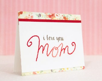 SALE - Mother's Day card with stitched calligraphy