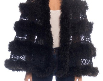 Victorian Lace And Ostrich Feather Cape Size: M/L