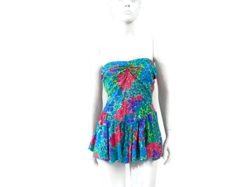 Floral Swirted Swimsuit by Elisabeth Stewart  Vintage Swimsuit Old Store Dead Stock Size 16 #129