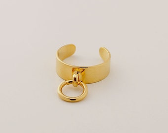 O Ring, Pinky Ring Women, Gold Midi Ring, Adjustable Ring, Mid Finger Ring, Knuckle Ring, Gold Plated Ring, Gold Pinky Ring, Gothic Ring
