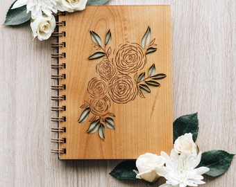 Ranunculus Journal, Wooden Journal
