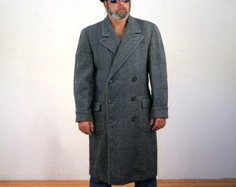 40s Tweed Overcoat, 1940s Winter Coat, 1940s Overcoat, Heavy Vintage Coat, 40s Mens Coat, Midcentury Overcoat, XL
