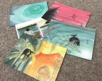Illustrated Comic Postcard Packs - 5 Designs A6 Landscape