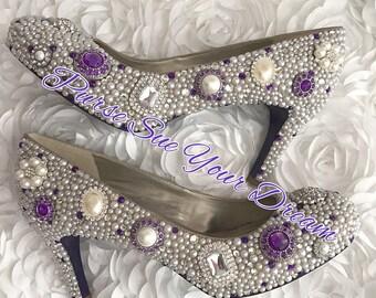 Vintage Chic Inspired Pumps Heels - Swarovski Crystal  Heels - Pearls and Rhinestone Heel Shoes - Pearl Bridal Shoes - Vintage Wedding Heels