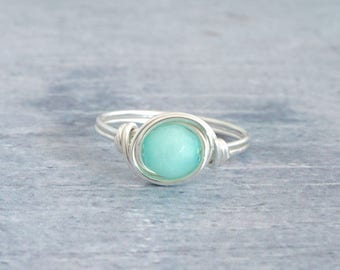 Blue Opal Ring, Mint Blue Ring, Silver Opal Ring, Wire Wrapped Ring, Modern Opal Ring, Pastel Green Ring, Gemstone Ring, Faceted Ring