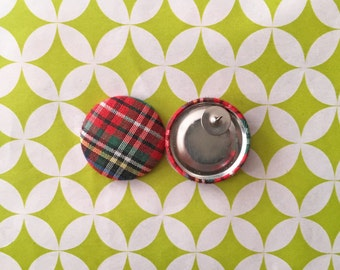 Fabric Covered Button Earrings / Red Plaid / Wholesale Jewelry / Handmade in USA / Stud Earrings / Holiday Gifts / Stocking Stuffers