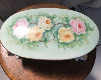 Vintage, Hand-Painted China Oval Trinket Box with Rose Motif