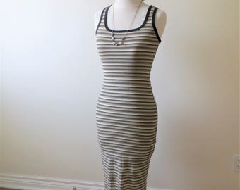 90s Way Cool Stretchy Tank Dress Maxi Floor Length Striped Basic Women's US Size Small