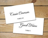 Rustic Script Editable Place Card, Printable Placecards // DIY Printable Place Cards // Black and White Wedding Name Cards, Instant Download