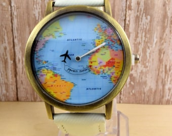 Travel map etsy white leather wrist watch world map watch woman leather watch world map travel gumiabroncs Image collections