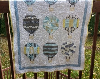Hot Air Balloon Quilt, Baby Blanket, Crib Quilt, Toddler Blanket, Snuggle Quilt, Security Blanket, Throw Blanket, Travel Blanket