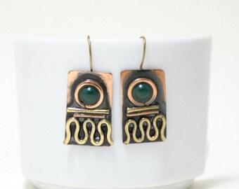 copper anniversary gifts for women, mixed metal earrings, copper earrings, copper jewelry earrings, boho rustic earrings, earthy jewelry