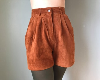 80s leather suede high waisted shorts