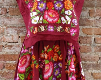 Mexican Tehuana Dress Huipil Vintage Frida Kahlo Style Flowers Embroidered