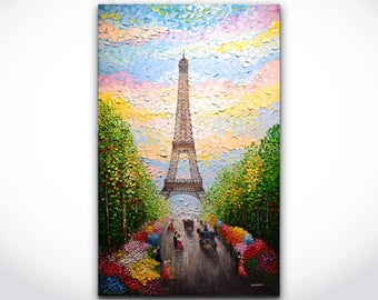 Paris painting - ORIGINAL Abstract Art Eiffel Tower Landscape Autumn Trees Colorful Flowers Texture Oil Painting 24x40 Canvas by Denisa