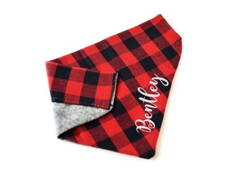 Monogram Pet Bandana - Reversible Personalized Christmas Scarf Neckerchief for Dogs and Cats