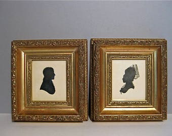 Antique Pair 19th C Silhouette Portraits Hand Painted Ink Gentleman & Lady The Hopkins Gilt Wood Frames