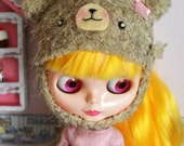 Sewing pattern teddy bear hat for blythe doll, pattern instant download