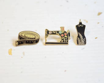 Black Set of 3 Pins - Sewing Set Enamel Pins // Hard Enamel - Enamel Pin - Pin - Lapel Pin - Flair - Brooch - Collar Pin - Justine Gilbuena