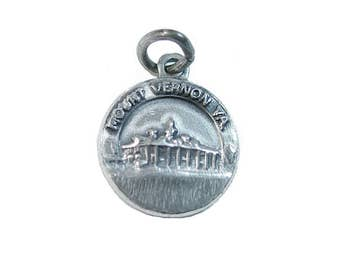 Mount Vernon Souvenir Charm - Vintage Washington's Home Travel Charm - Tiny Well Detailed Virginia Landmark Building by Bates and Klinke