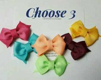 "3 Baby hair bow 2"" -hair clip- boutique, newborn, baby, toddler, alligator clips"