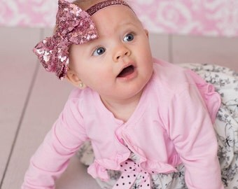 Large Pink Sequin Bow Headband, Large Pink Bow Headband, Pink Glitter Bow Headband, Valentine's Day Headband, Fancy Pink Headband, Pink Halo