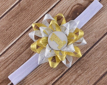 First Birthday Headband, Gold and Silver Headband, First Birthday Photo Prop, Cake Smash Headband, Birthday Girl Headband, Birthday Headband