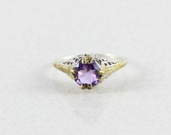 Sterling Silver Purple Amethyst Filigree Ring size 6 1/2