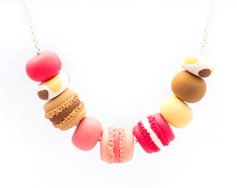 Handmade Polymer Clay Jewelry Necklace: Macaron Madness in Marshmallow