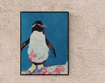 Penguin Wall Art: Pop Art Penguin, Unique Piece, signed, Original art